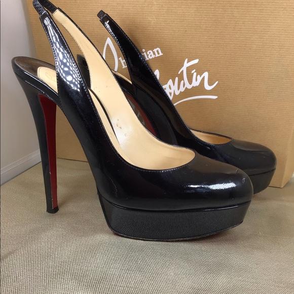 on sale 2dfcf 8f266 Christian Louboutin Slingback patent platform shoe